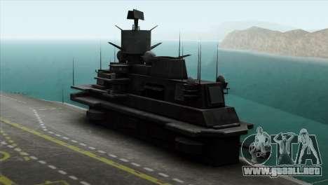 Admiral Kuznetsov Class para GTA San Andreas vista posterior izquierda