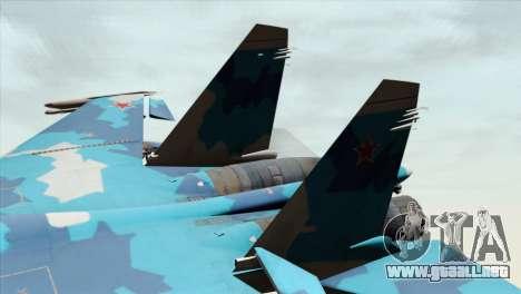 SU-33 Flanker-D Blue Camo para GTA San Andreas vista posterior izquierda