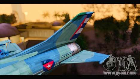 MIG-21MF Cuban Revolutionary Air Force para GTA San Andreas vista posterior izquierda