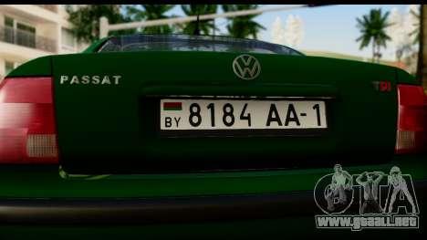 Volkswagen Passat B5 para la visión correcta GTA San Andreas