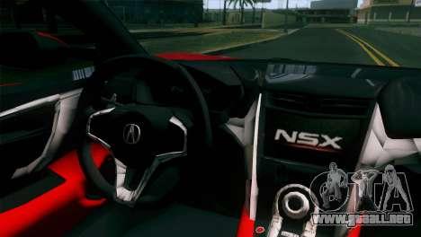 Nissan GT-R para GTA San Andreas vista hacia atrás