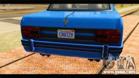GTA 5 Benefactor Glendale Special para GTA San Andreas vista hacia atrás