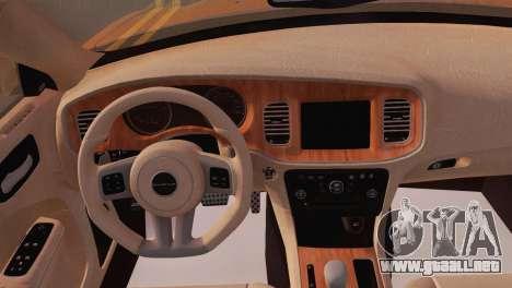 Dodge Charger SRT8 2012 Stock Version para GTA San Andreas vista hacia atrás
