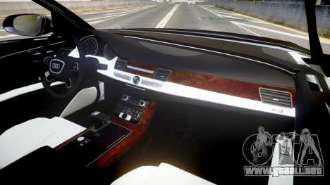 Audi A8 L 2015 Chinese style para GTA 4 vista hacia atrás