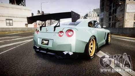 Nissan GT-R R35 Rocket Bunny [Update] para GTA 4 Vista posterior izquierda