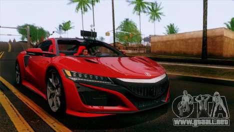 Acura NSX 2016 v1.0 SA Plate para vista lateral GTA San Andreas