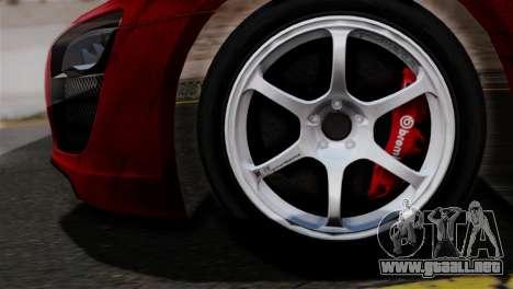 Audi R8 V10 v1.0 para GTA San Andreas vista posterior izquierda