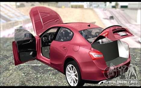 Maserati Ghibli 2014 para GTA San Andreas vista posterior izquierda