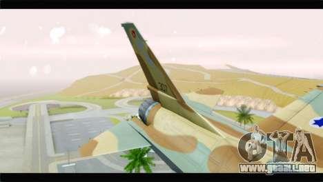 F-16A Netz para GTA San Andreas vista posterior izquierda