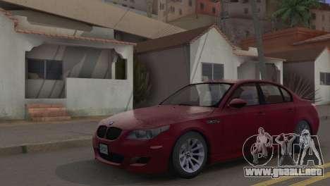 BMW M5 E60 2009 Stock para GTA San Andreas vista hacia atrás