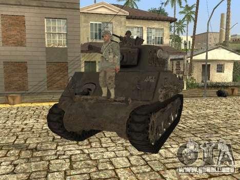 Tanque M4 Sherman para GTA San Andreas vista posterior izquierda