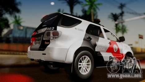 Toyota Hilux SW4 2014 Forca Tatica para GTA San Andreas left
