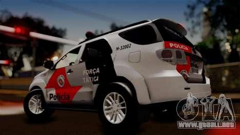 Toyota Hilux SW4 2014 Forca Tatica para GTA San Andreas vista posterior izquierda