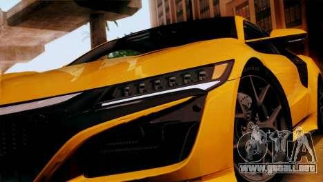 Acura NSX 2016 v1.0 SA Plate para la visión correcta GTA San Andreas