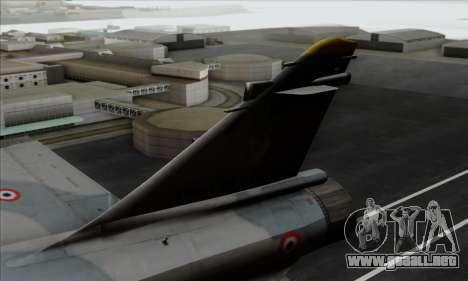 Dassault Mirage 2000-5 ACAH para GTA San Andreas vista posterior izquierda