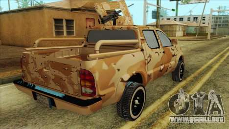 Toyota Hilux Siria Rebels without flag para GTA San Andreas vista posterior izquierda