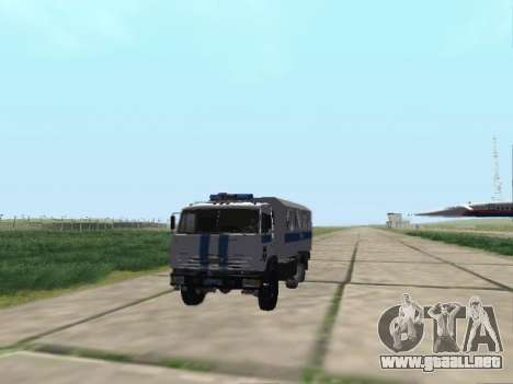 KamAZ-43114 un OMON para GTA San Andreas vista posterior izquierda