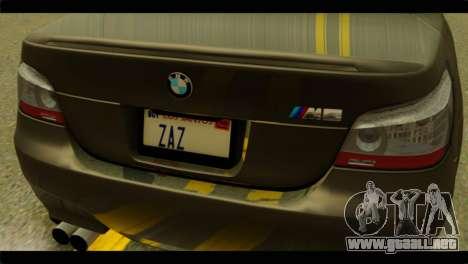 BMW M5 E60 2009 para GTA San Andreas vista hacia atrás