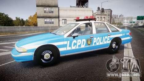 Chevrolet Caprice 1994 LCPD Patrol [ELS] para GTA 4 left