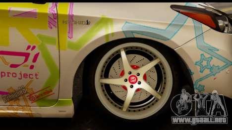 Toyota Prius Hybrid Eri Ayase Love Live Itasha para GTA San Andreas vista hacia atrás