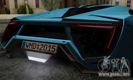 Lykan Hypersport 2014 EU Plate Livery Pack 2 para GTA San Andreas vista hacia atrás