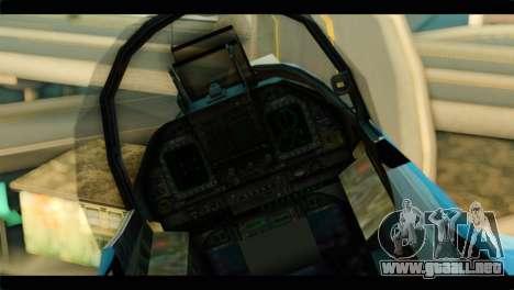 FA-18 Super Hornet Aggressor Squadron para GTA San Andreas vista hacia atrás