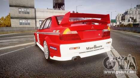 Mitsubishi Lancer Evolution VI 2000 Rally para GTA 4 Vista posterior izquierda