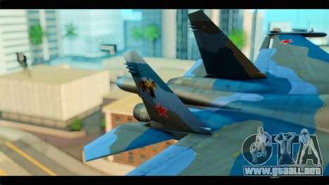 SU-34 Fullback Russian Air Force Camo Blue para GTA San Andreas vista posterior izquierda