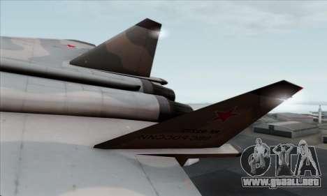 MIG 1.44 Flatpack Russian Air Force para GTA San Andreas vista posterior izquierda