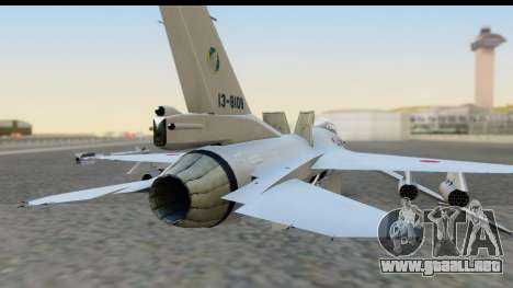 F-2A Zero White para GTA San Andreas vista hacia atrás