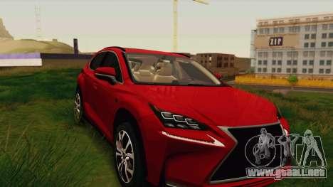 Lexus NX200T v2 para GTA San Andreas vista hacia atrás