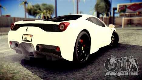 Ferrari 458 Speciale 2015 HQ para GTA San Andreas left