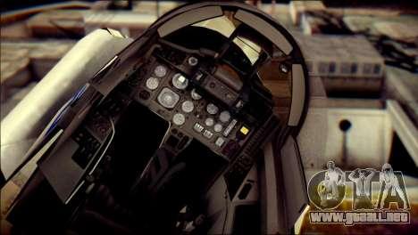 MIG-29 Fulcrum Reskin para GTA San Andreas vista hacia atrás