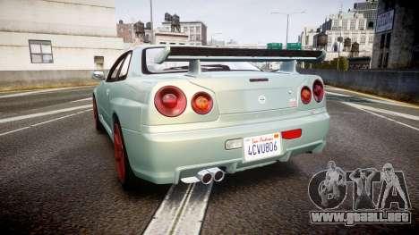 Nissan Skyline R34 GT-R M-Spec Nur para GTA 4 Vista posterior izquierda