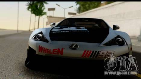 Lexus LFA 2010 Kaneki Ken Itasha para GTA San Andreas vista posterior izquierda
