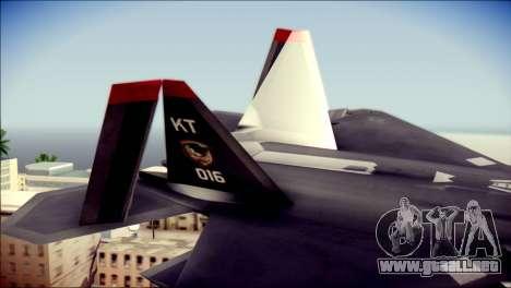 F-22 Raptor Razgriz para GTA San Andreas vista posterior izquierda