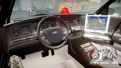 Ford Crown Victoria NYPD Unmarked [ELS] para GTA 4 vista hacia atrás