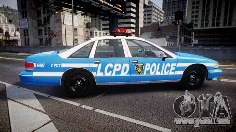 Chevrolet Caprice 1993 LCPD Without Hubcabs ELS para GTA 4 left