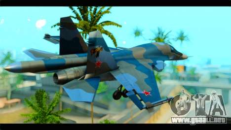 SU-34 Fullback Russian Air Force Camo Blue para GTA San Andreas left