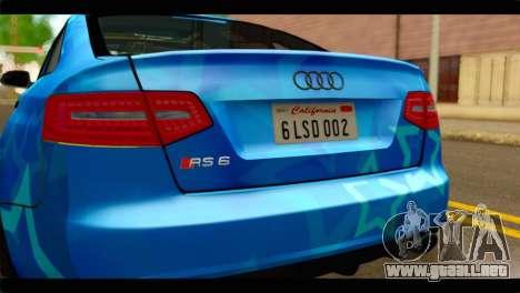 Audi RS6 VIP Star para GTA San Andreas vista hacia atrás