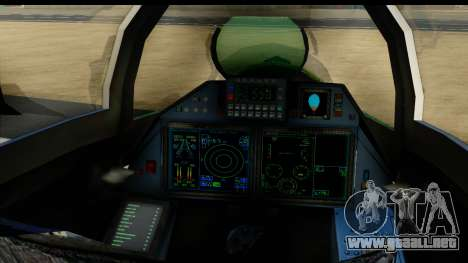 SU-35BM Yuktobanian Air Force para GTA San Andreas vista hacia atrás