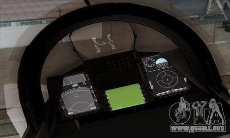 JAS-39 Gripen NG ACAH para GTA San Andreas vista hacia atrás