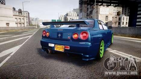 Nissan Skyline BNR34 GT-R V-SPECII 2002 para GTA 4 Vista posterior izquierda