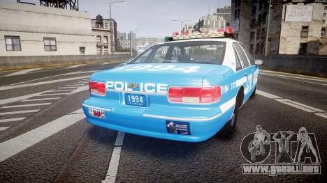 Chevrolet Caprice 1994 LCPD Patrol [ELS] para GTA 4 Vista posterior izquierda