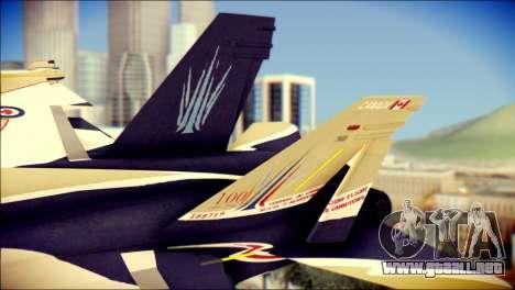 FA-18D Hornet RCAF para GTA San Andreas vista posterior izquierda