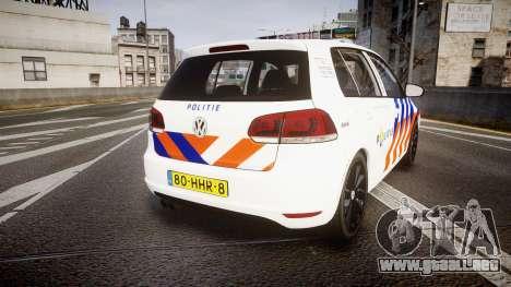 Volkswagen Golf Mk6 Dutch Police [ELS] para GTA 4 Vista posterior izquierda