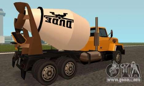 Cement Truck Fixed para la visión correcta GTA San Andreas