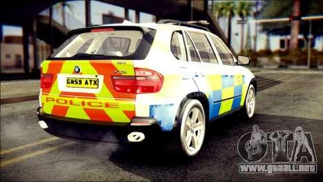 BMW X5 Kent Police RPU para GTA San Andreas left