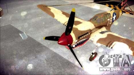 P-40E 325th Fighter Group para GTA San Andreas vista hacia atrás