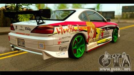 Nissan Silvia S15 Drift Hirasawa Yui Itasha para GTA San Andreas left